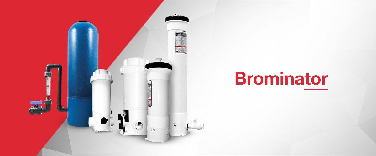 Brominator and chemical feeder range including high pressure brominators and both offline and online chemical feeders.