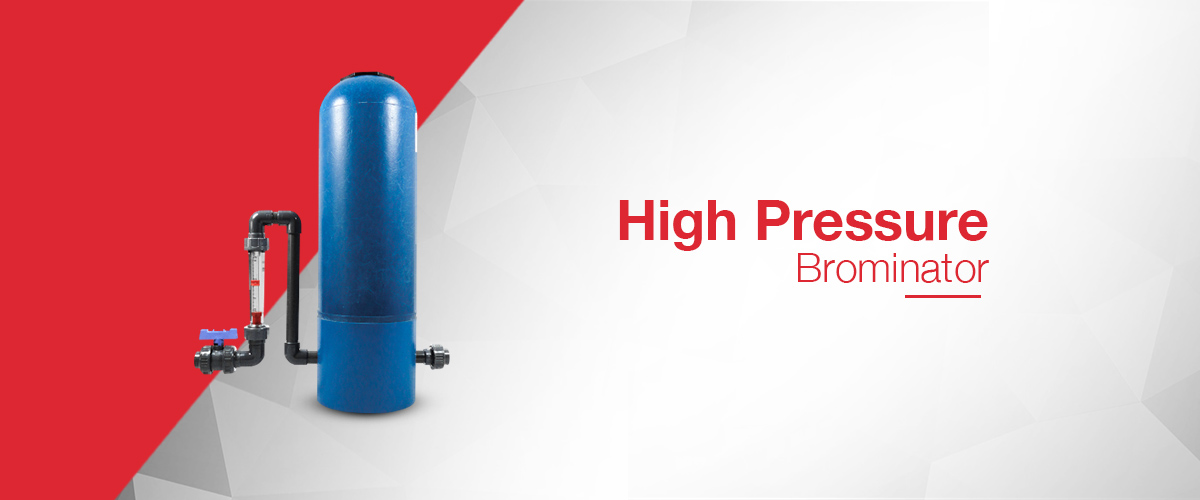 High pressure brominator range for use with both bromine and chlorine or trichlor tablets