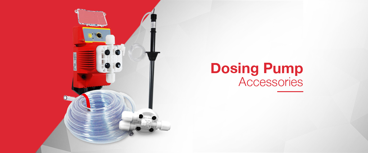Dosing Pump accessories including suction lance assemblies, valves, injection quills and dosing tube.