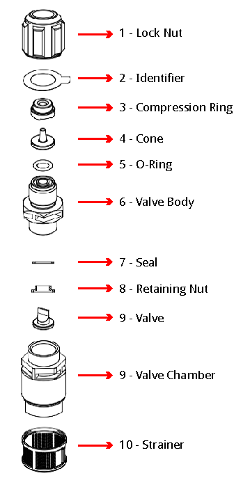 Pvdf Foot Valve And Strainer For Use With 8 X 12mm Tubing
