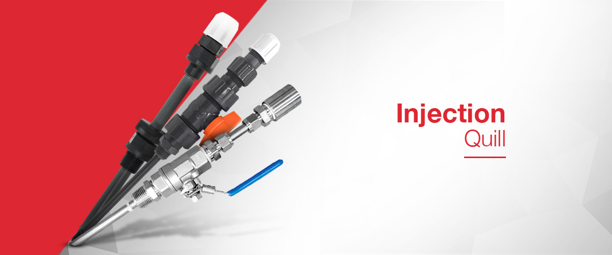Chemical Injection quill or injection lance for delivering chemical to centre of a pipe line.