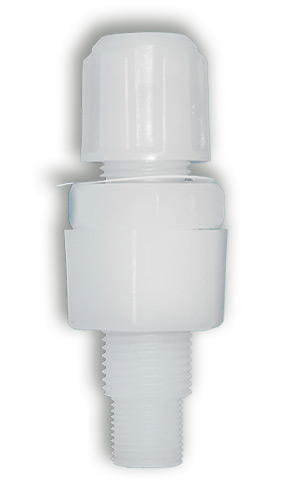 PVDF injection valve 4x6mm with integral non-return valve