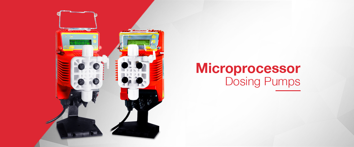 Microprocessor controlled dosing pump range where the dosing pump can be controlled from an external signal such as a 4-20mA or pulsed signal as batch dose, timer dose or ppm dose.