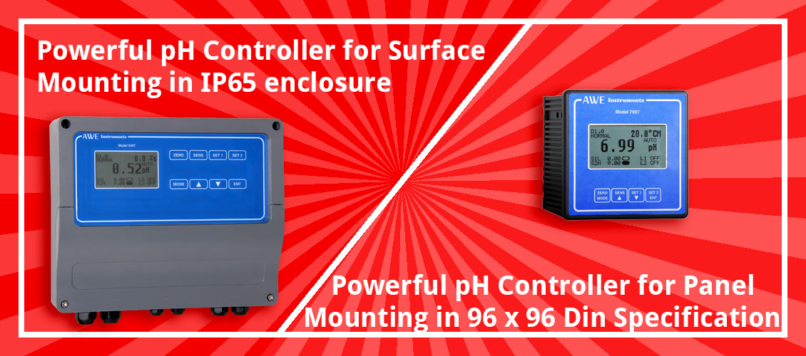 PID control pH controllers for surface or panel mounting.