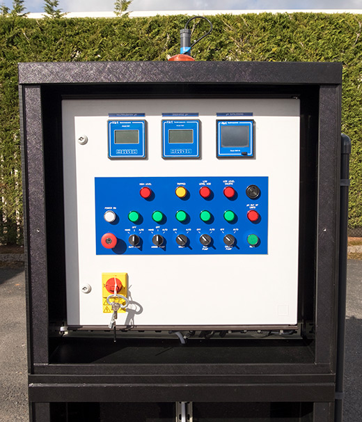 pH correction of waste water control panel